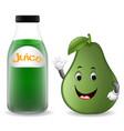 bottle of avocado juice with cute avocado cartoon vector image vector image
