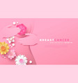 breast cancer month template papercut self exam vector image vector image