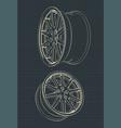 car alloy wheels drawings vector image