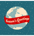 christmas greeting card with the earth globe vector image vector image