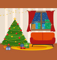 christmas room interior tree wig sofa vector image vector image