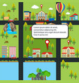 city map with houses and roads vector image vector image