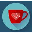 Cup icon with snowflakes in heart vector image vector image
