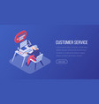 customer service isometric landing page template vector image vector image