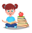 cute girl reading book and sitting near a stack vector image