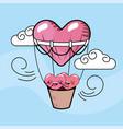 cute hearts couple inside air balloon vector image vector image
