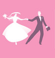elegant wedding couple dressed in retro vintage vector image vector image