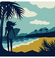 girl with a surf vector image vector image