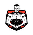 gym sport logo or label bodybuilder muscles vector image vector image