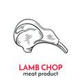 hand drawn lamb chop icon vector image vector image