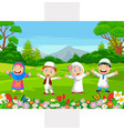 happy muslim kids playing in park vector image vector image