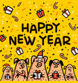 happy new year pig yellow greeting card funny vector image vector image