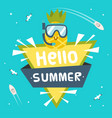 hello summer ribbon pineapple wear snorkel triangl vector image vector image