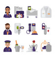 hotel service icons hoteling staff waiter vector image
