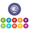 independence day icons set color vector image
