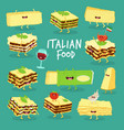 italian food set lasagna cheese and wine vector image vector image