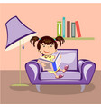 little girl reading a book vector image vector image
