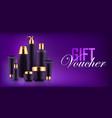luxury cosmetic bottle voucher vector image vector image