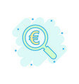 magnify glass with euro sign icon in comic style vector image