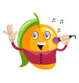 mango holding microphone on white background vector image vector image