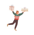 merry person hold christmas gifts happy woman vector image