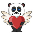 panda with heart on white background vector image