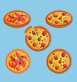 pizza flat food collection isolated vector image