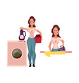 pretty young woman housewife doing housework - vector image vector image