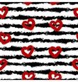 Red hearts black stripes Smear brush white vector image