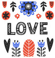 romantic flat folk postcard template vector image
