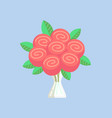 rose bouquet pink flowers with leaves in vase vector image