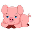 sad pig cartoon vector image vector image