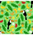 Seamless pattern with tropical nature on green vector image vector image