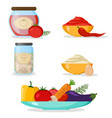 set of vegetables mayonnaise chili sauce vector image vector image