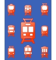 set trains on blue background vector image vector image