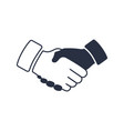 shaking hands icon black icon handshake vector image