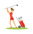 smiling woman golfer in red uniform with golf vector image vector image