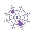 spider with cobweb icon trick or treat happy vector image