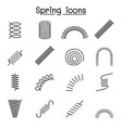 spring coil and absorber icon set in thin line vector image