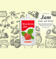 strawberry jam ads design template vector image vector image