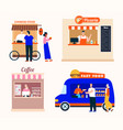 takeaway food service set chinese food vector image
