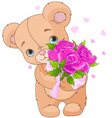 Teddy bear giving bouquet vector image vector image