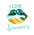 tropical beach summer print with slogan for t vector image
