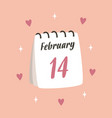valentines card with cute calendar isolated vector image