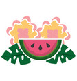 watermelon flowers leaves tropical summer vector image vector image