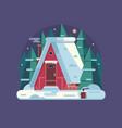 winter cozy house snowy scene in flat vector image vector image