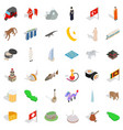 world landmark icons set isometric style vector image
