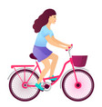 young girl riding a bike bicycle isolated vector image vector image