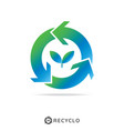 circle recycle with growth leaf logo concept logo vector image