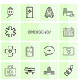 14 emergency icons vector image vector image